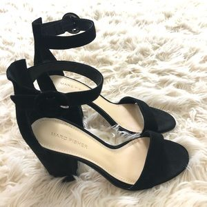 Marc Fisher black suede block heel open toe sandal